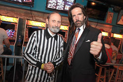 Walter Day (left) and Billy Mitchell at the 1up, where Jeff Pickles scored a perfect Pac-Man game.
