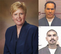 Check, please: District Attorney Carol Chambers is seeking the death penalty for David Bueno (top right) and Alejandro Perez — and billing the state.