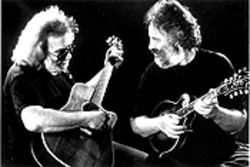 Doggie duo: Jerry Garcia and David Grisman get picky in Grateful Dawg.