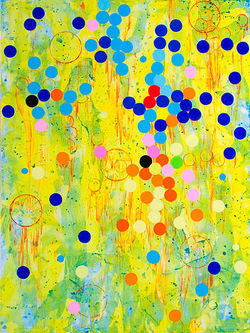 """Tiddlywinks I,"" by Joan Moment, acrylic on canvas."