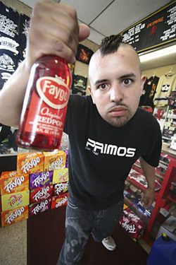 Kiki displays some of Primos&#039;s Faygo, a juggalo&#039;s favorite beverage.