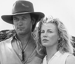 Continental divide: Newlyweds Vincent Perez and Kim Basinger find adventure in Africa.