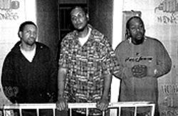 Rappers gone mad: Producer Tito (left) and Hilltop  Klick's F.O.E. and Doughboy on the set of Hip Hop  Madness.
