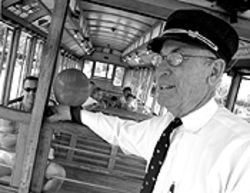Clang, clang:  Jerry Sigman is the volunteer conductor  for the Platte Valley Trolley.