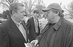 Patriot's game: Michael Moore (right) talking with  Congressman John Tanner in Fahrenheit 9/11.