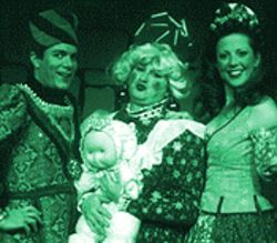 Men in tights: Scott Sterling Hill, Richard Honey and Terrianne Steinhauer-Heyer in Sleeping Beauty  --  The Panto.