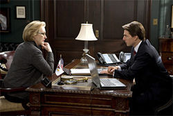 Meryl Streep and Tom Cruise discuss the business of war in Lions for Lambs.