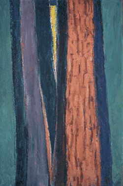 """Redwoods"" by Frank Vavra, oil on Masonite."