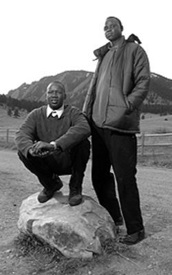Out of Africa: Lost Boys Simon Garang (right) and Kur Deng are now students at the University of Colorado.