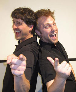Damon Guerrasio (left) and Steven J. Burge in Love Child.