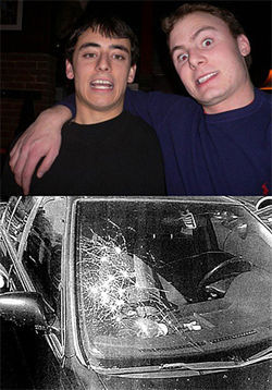 Although Zachary Dong (left) and Alex Robinson weren't on campus when Alana McCoy's car was vandalized, they did admit to ripping down her display of coming-out stories.