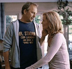 It's a mad, mad world: Kevin Costner and Joan Allen  in The Upside of Anger.