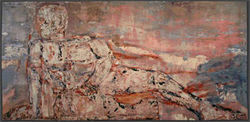 """Reclining Youth,"" by Leon Golub, digitized Jacquard weaving."