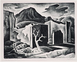 &quot;Ruins of Central City,&quot; by Vance Kirkland, lithograph.