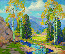 """A Mountain View,"" by Frank Vavra, oil on canvas."