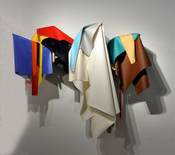 """Untitled (Draped Structure),"" by Derrick Velasquez, wood and vinyl."