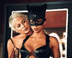Feline fine: Sharon Stone and Halle Berry get frisky in  Catwoman.