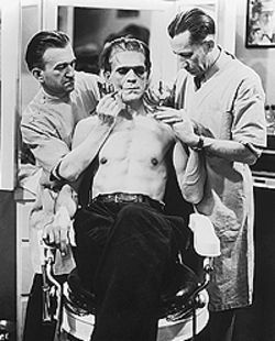 Make-up artist Jack Pierce transforms Boris Karloff  into Frankenstein.