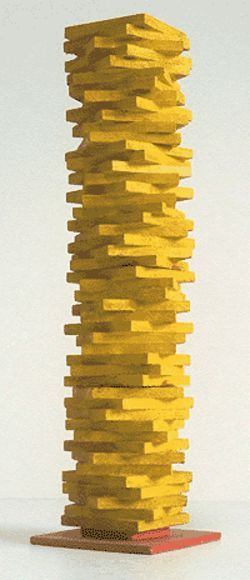 """yellow stacked squares,"" by Herbert Bayer, wood  and paint."