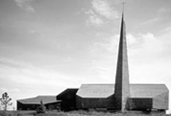 """Sky Point,"" Episcopal Church of the Good Shepherd in Englewood; Newman Center for the Performing Arts, University of Denver campus, both by Cabell Childress."
