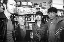 John Schmersal (second from left) and Enon get lost in the supermarket.