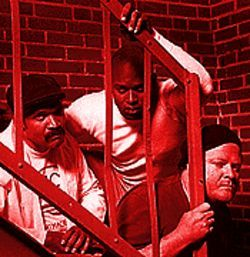 Prisoners of society: Jeffrey W. Nickelson, Cajardo R. Lindsey and Kurt Soderstrom inRiff Raff.