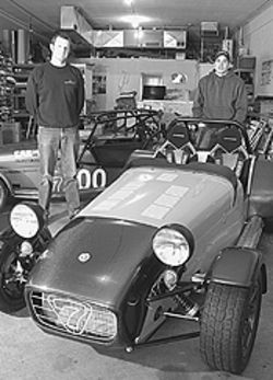 Nathan Down and Cody Story stand next to the  Caterham Seven.
