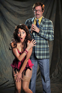 Geoffrey Kent and Jamie Ann Romero in Noises Off.