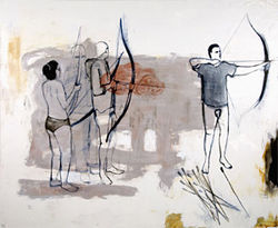"""Archery Lesson,"" by Bill Stockman, oil on canvas."