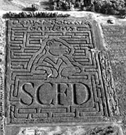 The Chatfield corn maze gives props to the SCFD.
