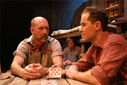 Mark Rubald (left), Patrick Brennan and Kent Burnham in Of Mice and Men.