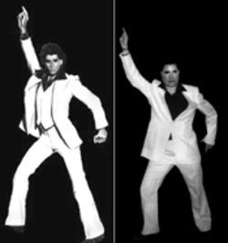 They go together: Laurie Marie Muha and John Travolta as Tony Manero...