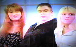 Three's company: Michelle and Dennis Ormond and pal Shawna guested on Maury Povich's show in 1997.
