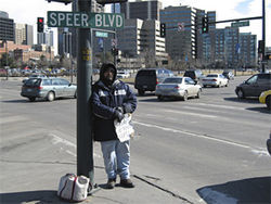 Cornering the market: Speer Boulevard is a popular strip with local panhandlers.
