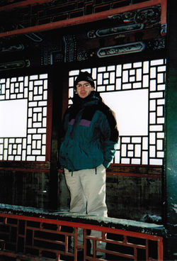 Bacigalupi at Beijing's Summer Palace during a Chinese winter; travel, he says, has been a way of kick-starting story ideas.