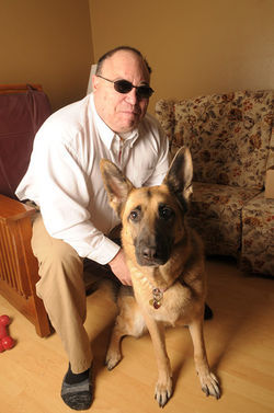 His guide dog, Jersey, helps Peter Spitz negotiate his new life.