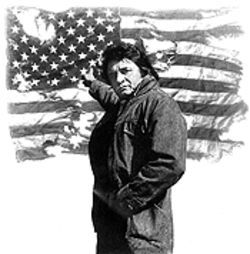 Keeping an eye on the Ragged Old Flag: Johnny Cash is among a group of artists whose America-themed works have been resurrected by the 9/11-conscious record industry.