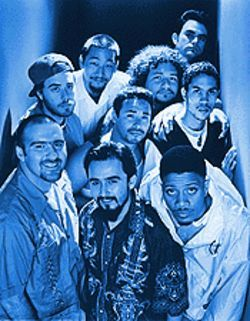 Rainbow warriors: The nine-man Ozomatli crew.