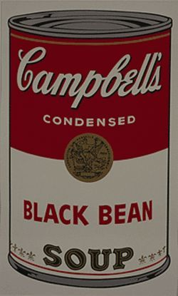 "Image from ""Campbell's Soup I,"" screen print by Andy  Warhol."