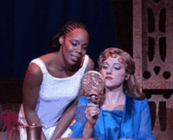 Soara-Joye Ross (left) and Julie Reiber share a  moment in Aida.