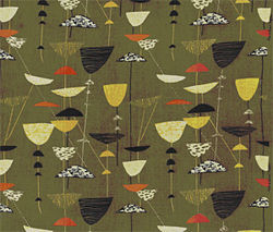 """Calyx,"" by Lucienne Day, screen-printed rayon."
