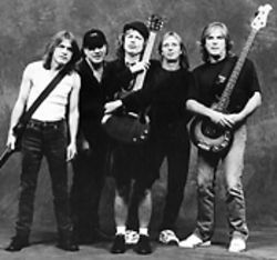 The will to survive: Brian Johnson (second from left) and the rest of AC/DC are still surging.