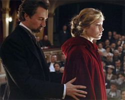 Edward Norton practices his eye-hand coordination  with Jessica Biel in The Illusionist.