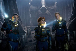 Logan Marshall-Green, Noomi Rapace and Michael Fassbender star in Prometheus.