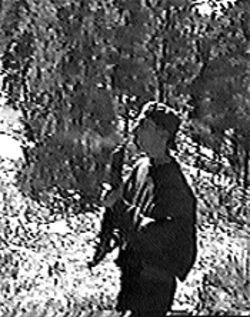A still photo of Eric Harris from the video he and Dylan  Klebold made just weeks before the rampage at  Columbine.