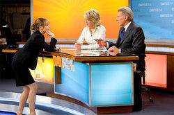 Rachel McAdams (far left), Diane Keaton and Harrison Ford star in Morning Glory.