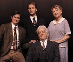 The hard sell: Ed Cord (from left), Brett Aune, William  Denis and Karen Erickson in Death of a  Salesman.