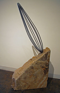 """Indecision,"" by Mike Mancarella, steel and stone."