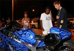 Motor city: The bike customized by Mack draws the  crowds at a local drive-in.