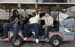 Make way for tha revolushun: (from left) Keo, King  Mississippi, Shunfist, Dent and DJ Shuntastic are  RRAAHH Foundashun.